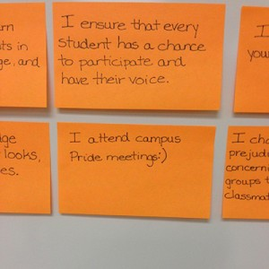 Sticky notes describing how students are committed to an Inclusive Illinois