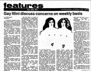 Daily Illini article: gay illini discuss concerns on weekly basis