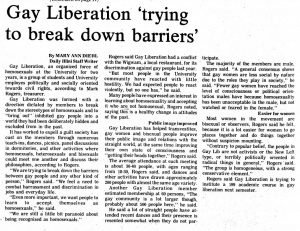 Daily illini article: Gay liberation trying to break down barriers