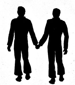 Silhouette outline of two men holding hands