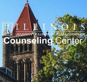 "A photo of Altgeld hall with the text ""Illinois - University of Illinois at Urbana-Champaign counseling center"" overlaid in white text"