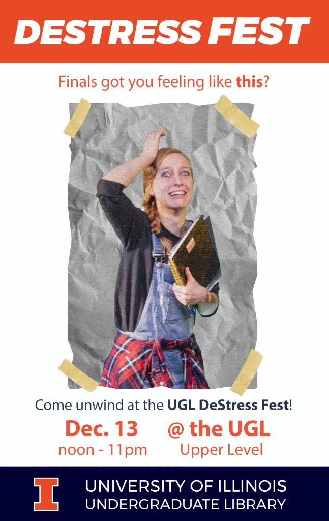 Flyer for Destress Fest. Image shows a very distressed student.