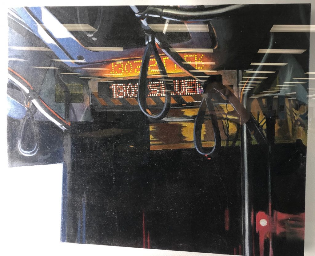 A painting that references images of the a ride home on the 130s Silver Bus.