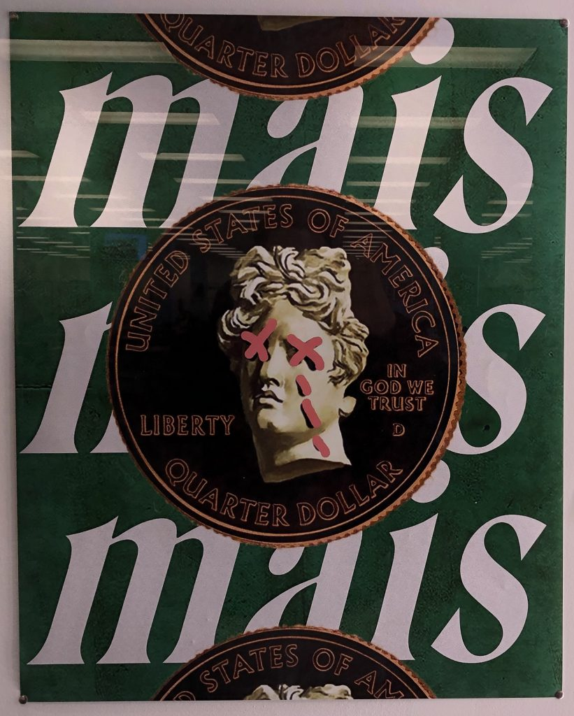 A green background with Mais printed three times. Over the top is a black quarter with gold outlined text and rims with the heads side showing. The eyes are X'd out and 3 red lines go down from the eyes.