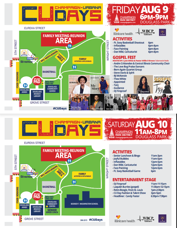 Champaign-Urbana Days, August 9-10 at Douglass Park, Activity and Entertainment schedule
