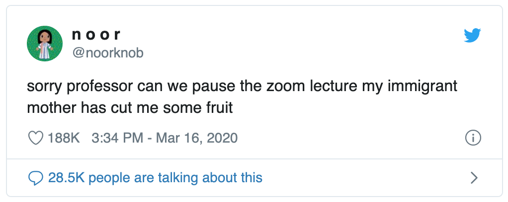 Screenshot of tweet reads: sorry professor can we pause the zoom lecture my immigrant mother has cut me some fruit