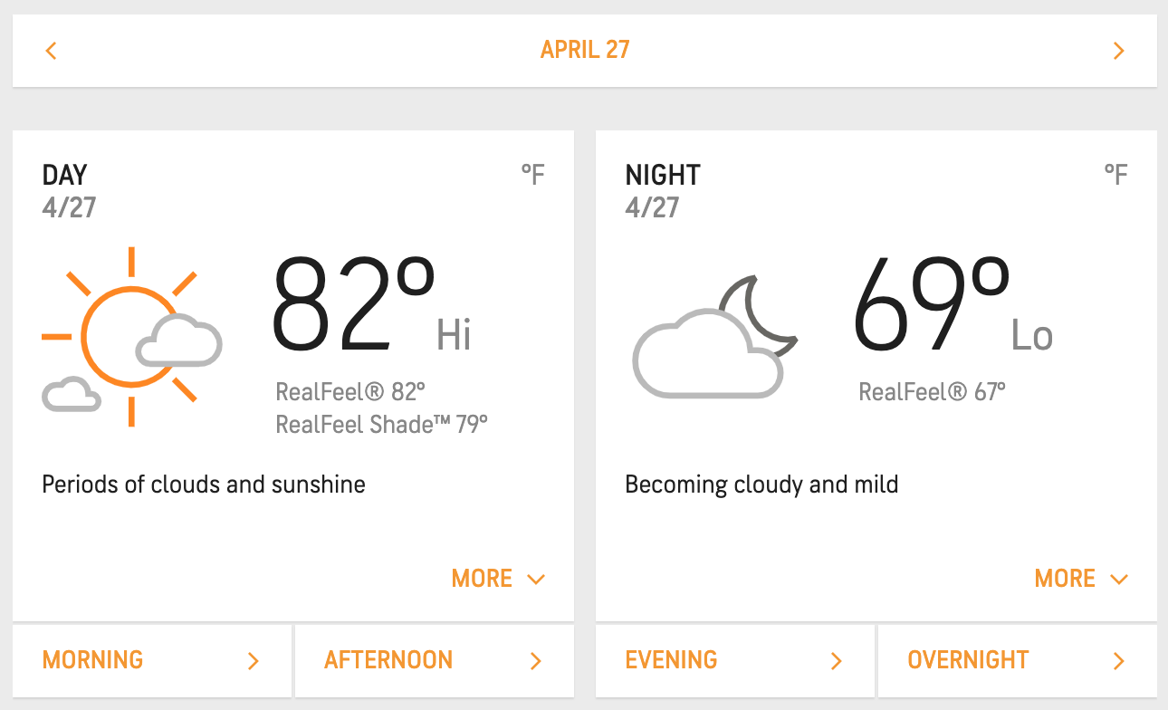 Screenshot of weather forecast for Monday, April 27, reads a high of 82 and low of 69. The perfect day.