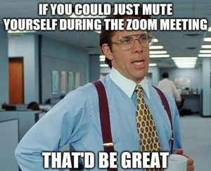 "Screenshot of a man in an office saying ""if you could just mute yourself during the zoom meeting that'd be great"" but he looks very sarcastic"