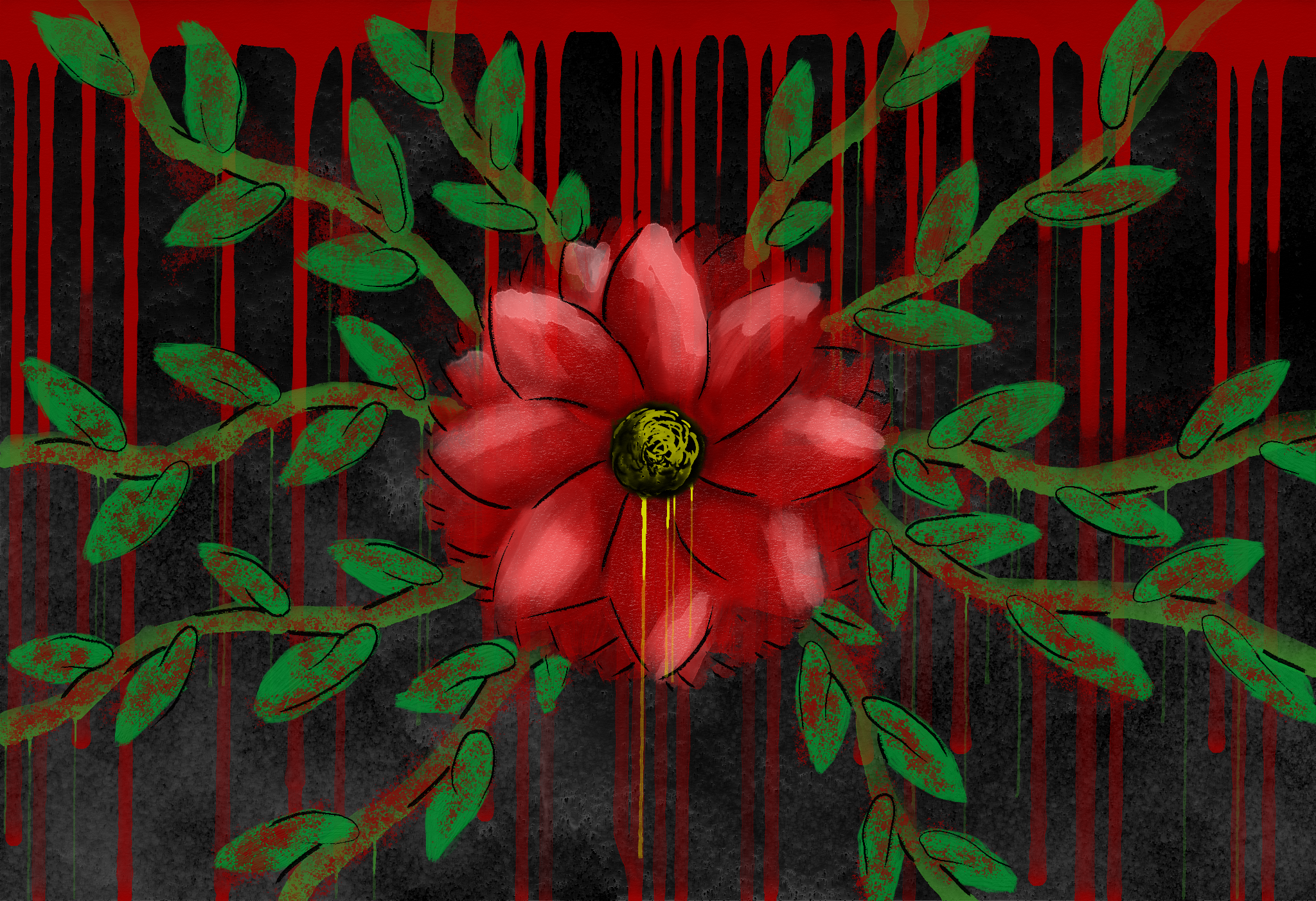 Red flower with branching vines on a speckled grey/black background. Paint drips down from vines, the flower, and the top of the painting.