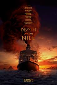 Movie poster with a river boat on the water and a dark red sunset, reads Death on the Nile