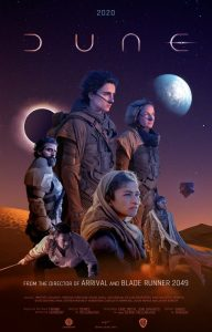 Movie poster, multiple figures in front of a night sky, planets visible. Title Dune.