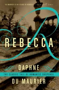 "Book cover of stairs, a stylized ""R"" and the title Rebecca"