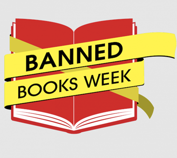 Banned Books Week banner on red book