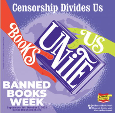 Censorship Divides Us Books Unite Us Banned Books Week and hands holding a book
