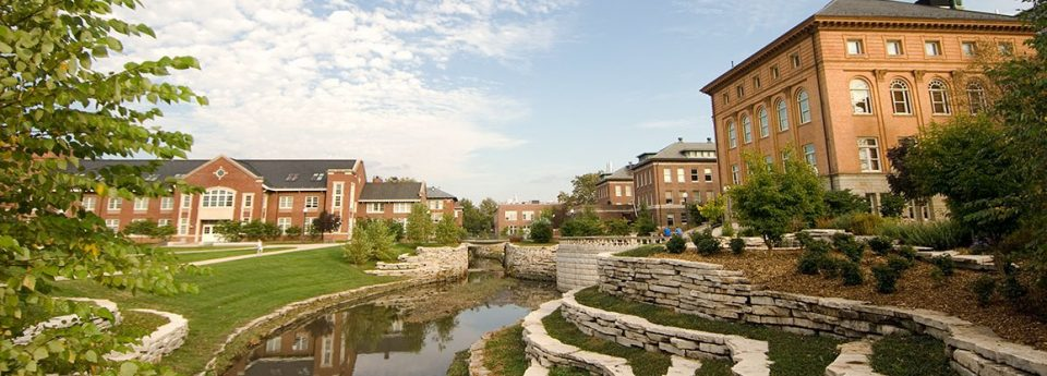 A picture of the Engineering Quad at the University of Illinois Urbana-Champaign. The picture looks over Boneyard Creek, which runs through the quad next to Everitt Laboratory.