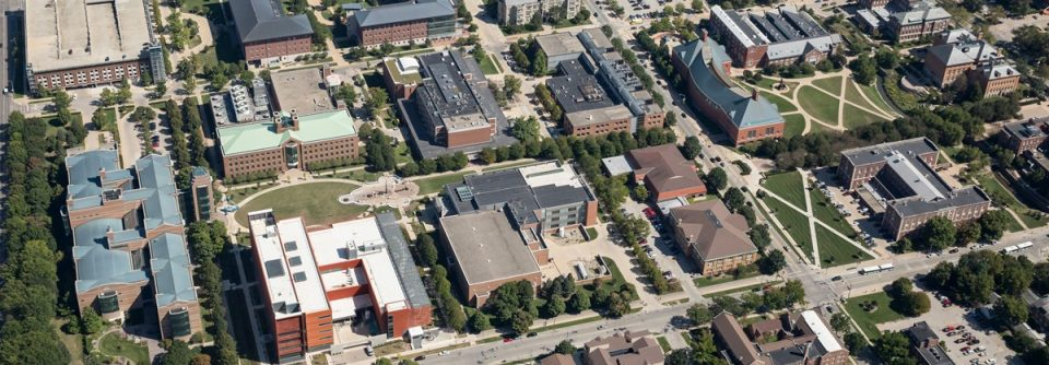 A picture of the University of Illinois Urbana-Champaign campus from above, focused on the Engineering Quad.