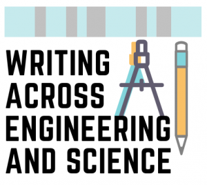 A logo for Writing Across Engineering and Science. The name of the group is on the left, with a blue and grey border on the top and illustrations of a drawing compass and pencil on the right.