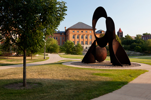 Image of engineering quad and sculpture