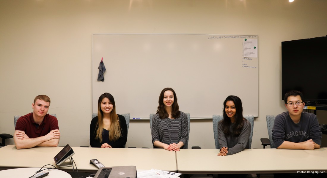 Group Picture of the OBFS interns in Spring 2018: Ryan, Kara, Christina, Tanisha, and Tianqi