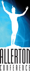Allerton Conference Logo; a sillouette on a field of blue