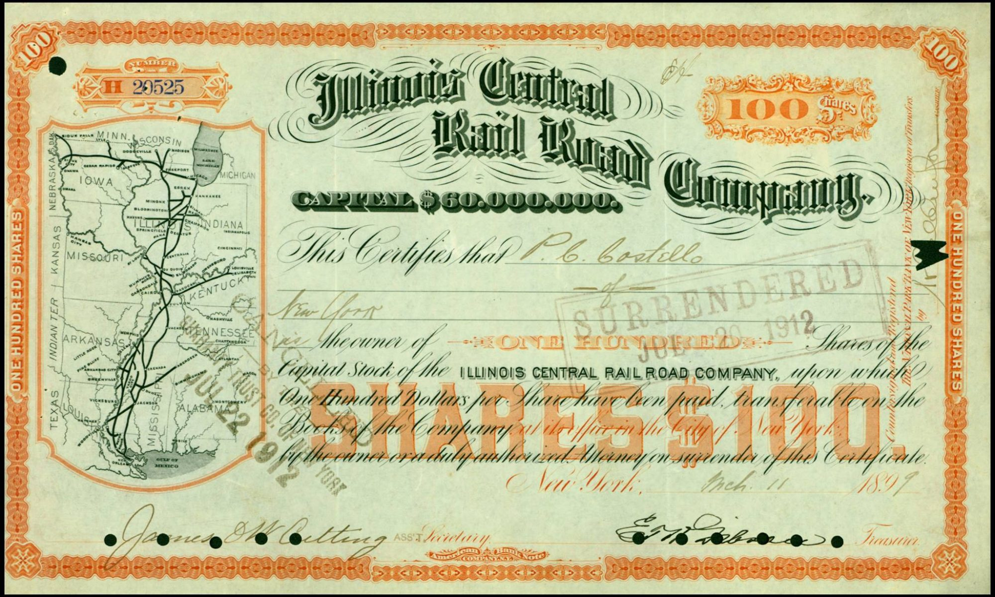 A share certificate for the Illinois Central Railroad, dated 1899