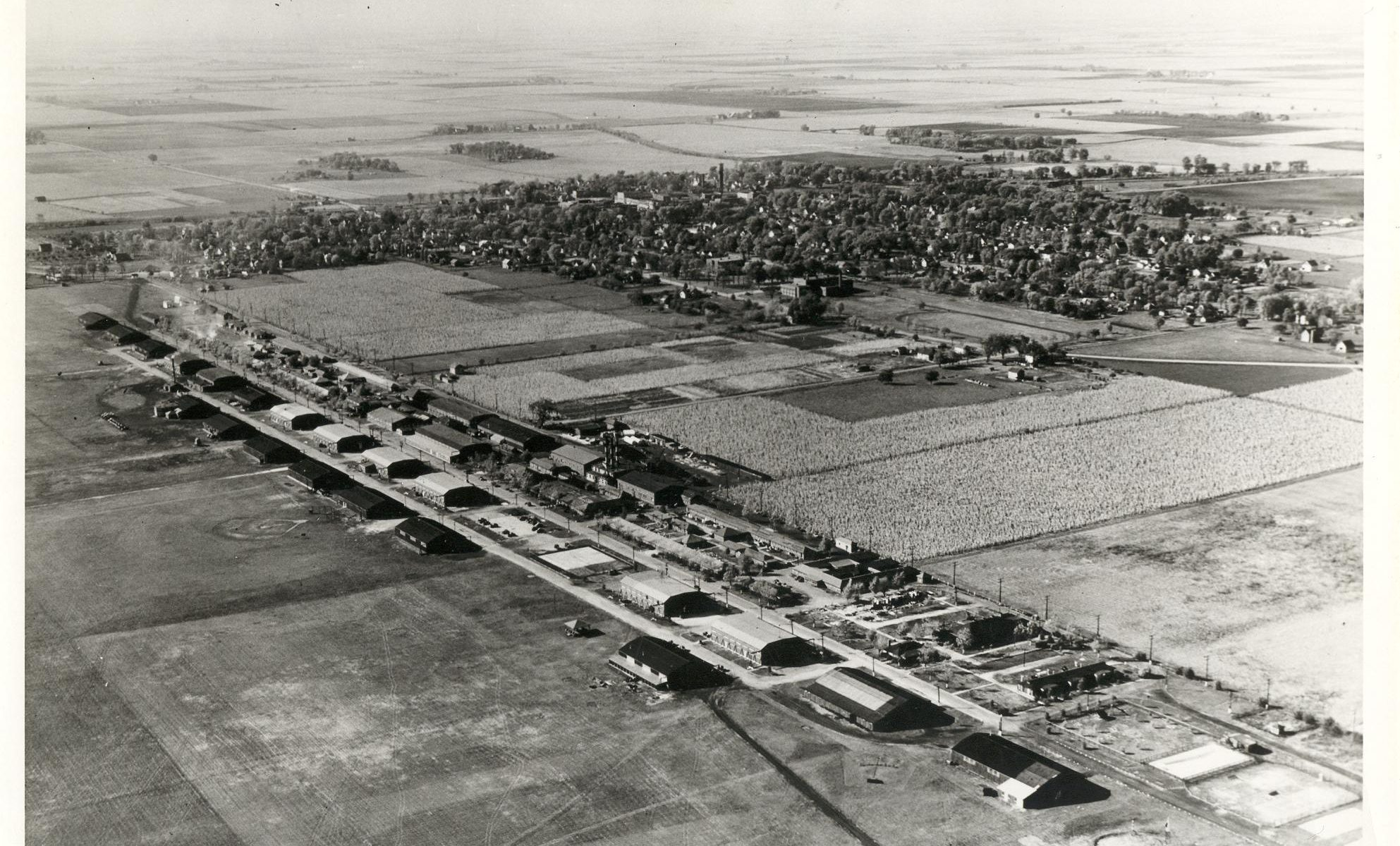 Aerial photograph of Chanute Air Force base in the 1920s with the village of Rantoul in the background.