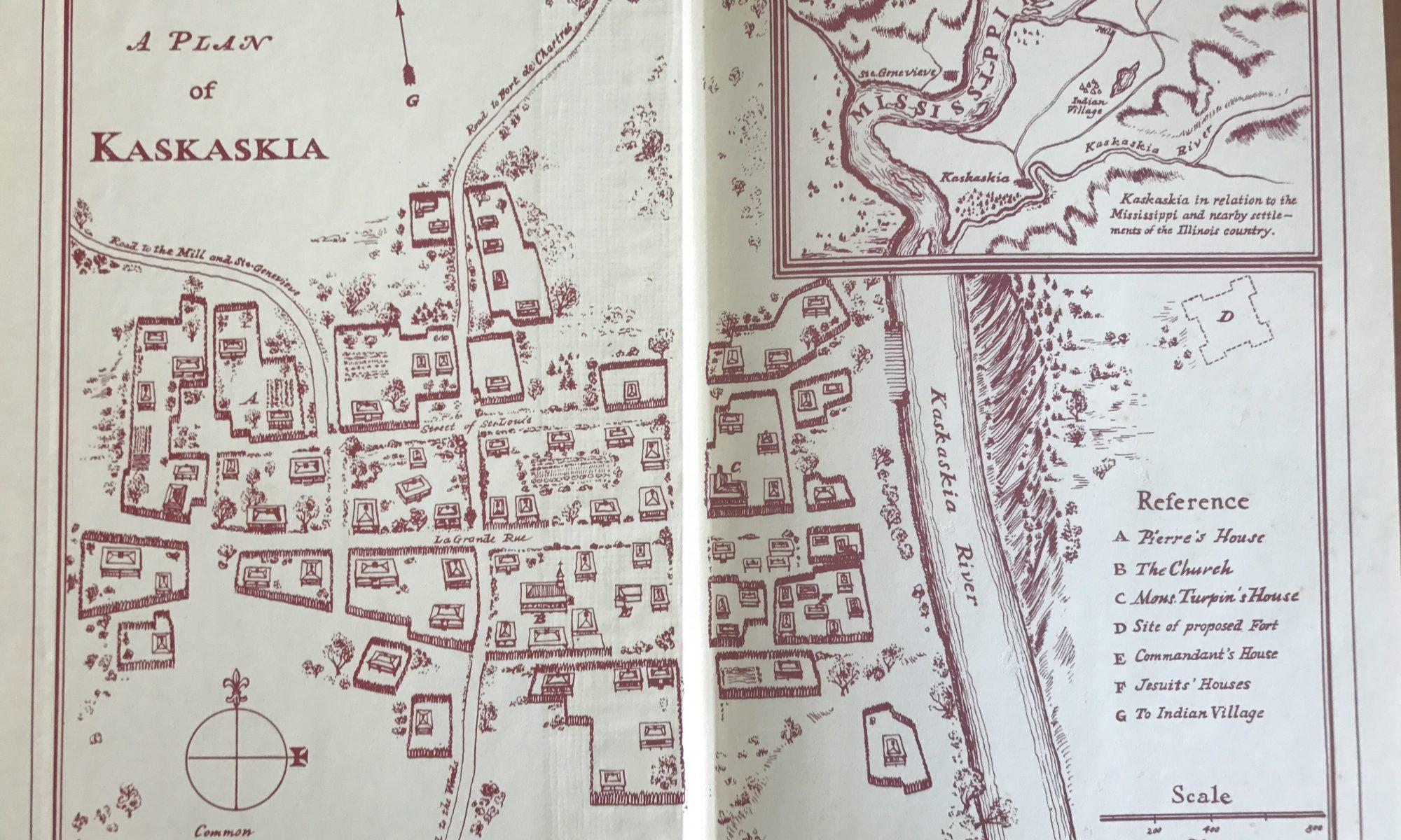 "Map of Kaskaskia that appears in Natalia Belting's ""Pierre of Kaskaskia"""