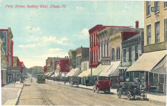 1909 postcard of Front Street in Dixon
