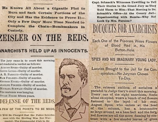 Newspaper clippings collected about the Haymarket Affair trial, 1886.