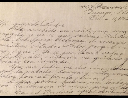 Image of a letter from Pedro Alayu in Chicago to his father in the Philippines.