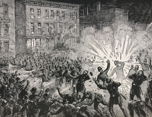 Illustration of the scene in Haymarket Square as the bomb exploded.
