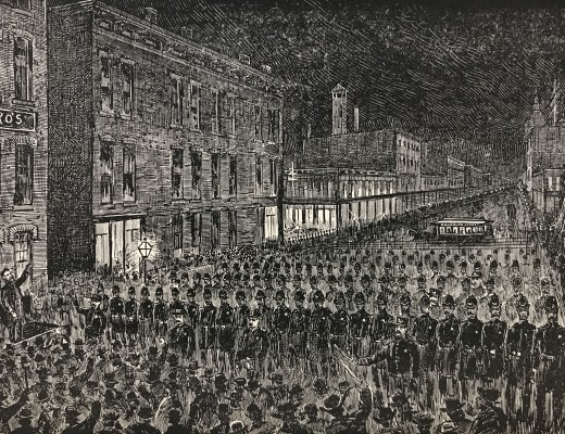 Illustration of the rally, and approaching police, in Haymarket Square the evening of May 4, 1886.