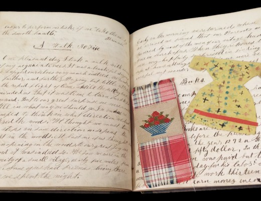 Selected interior pages from Sarah B. Leverett's school notebook, 1857-1858.