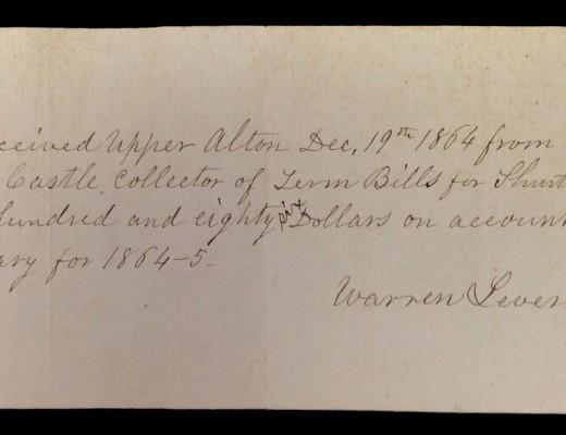 Note from Warren Leverett regarding his Shurtleff College salary, 1864.
