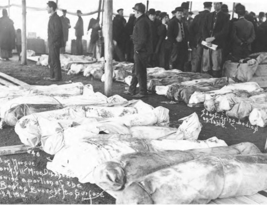 Photograph of bodies being identified after Cherry Mine Disaster, 1909