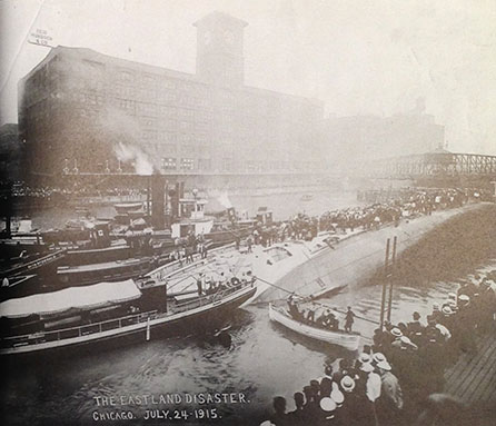Photograph of the SS Eastland capsized in the Chicago River, July 24, 1915.