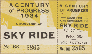 Ticket to the Century of Progress Exposition Sky Ride, 1934.
