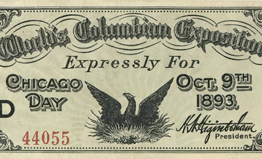 Ticket for Chicago Day at the World's Columbian Exposition, 1893, (Front)