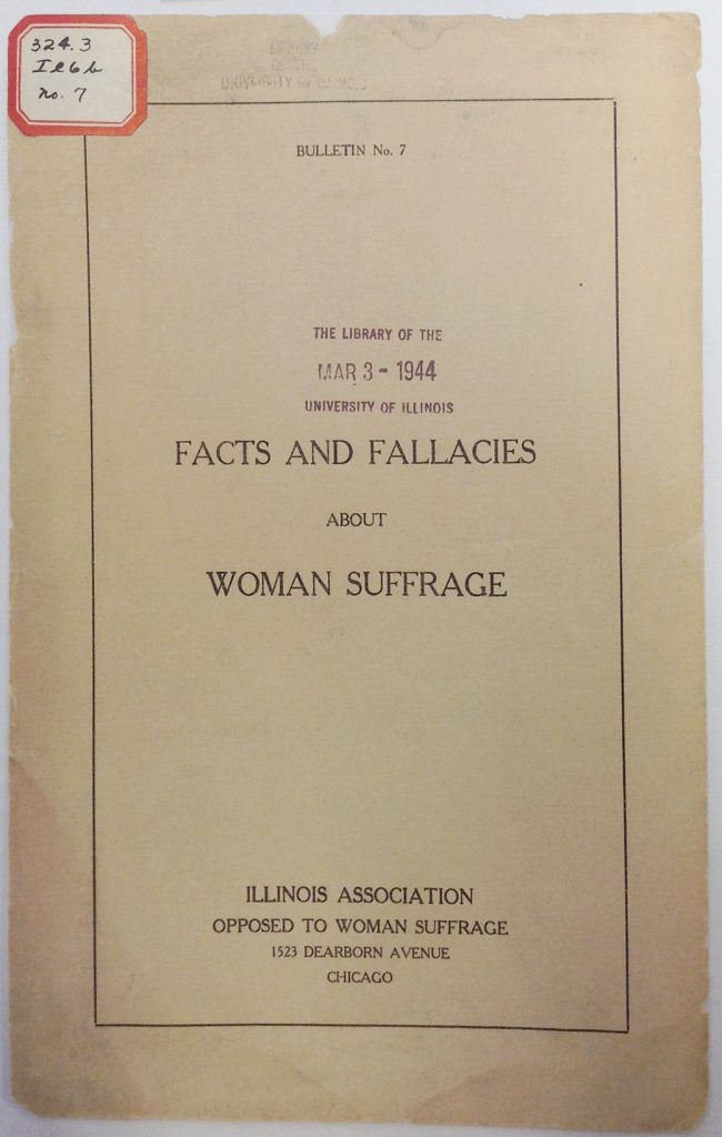 Facts and Fallacies about Woman Suffrage pamphlet, 1911. Cover page.