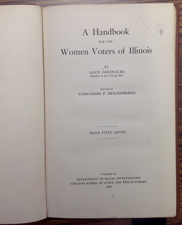 A Handbook for the Women Voters of Illinois
