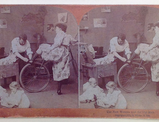 Facsimile of The New Woman and the Old Man stereoscopic card, 1892.