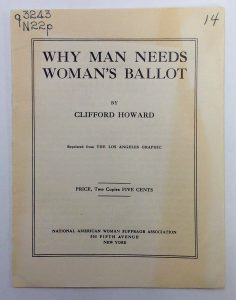 Why Man Needs Woman's Ballot pamphlet