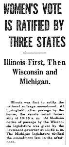 """Women's Vote is Ratified by Three States,"" 1913"