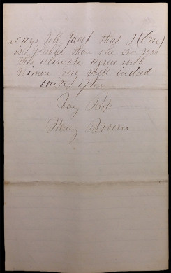 Letter from Henry Brown to Jacob Barnes, page 3. In this letter he described the coming of a new railway, which directly connected Chicago, Illinois, to Fort Scott, Kansas