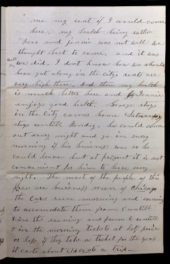 Letter from Mary Jane Foster to her father describing transportation between Evanston and Chicago