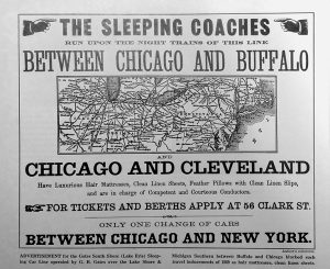 "An advertisement for the Gates South Shore Sleeping Car Line that reads: ""The sleeping coaches run upon the night trains of this line between Chicago and Buffalo and Chicago and Cleveland"""