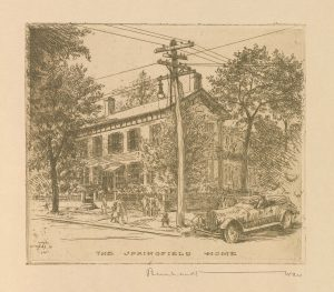 Etching depicting Lincoln's home in Springfield