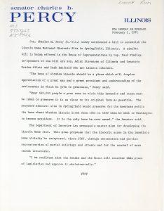 Press release printed on Senator Charles H. Percy's letterhead