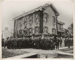 Photo depicting Lincoln's Springfield home draped for mourning