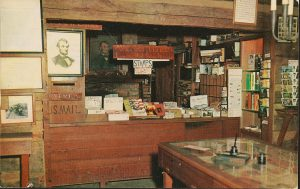 Postcard depicting the first Berry-Lincoln store and U.S. Post Office at Lincoln's New Salem